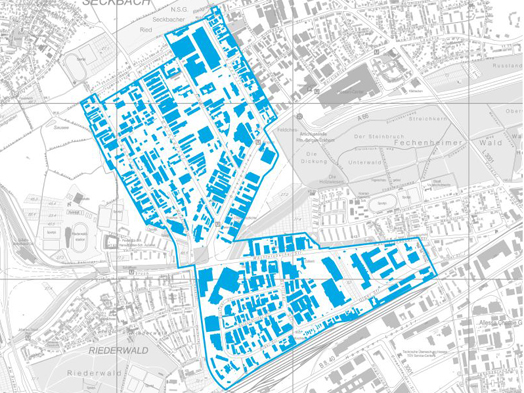 Demarcation of the project area © map courtesy of the Frankfurt City Surveying Dept.; © processing by Frankfurt City Planning Dept.