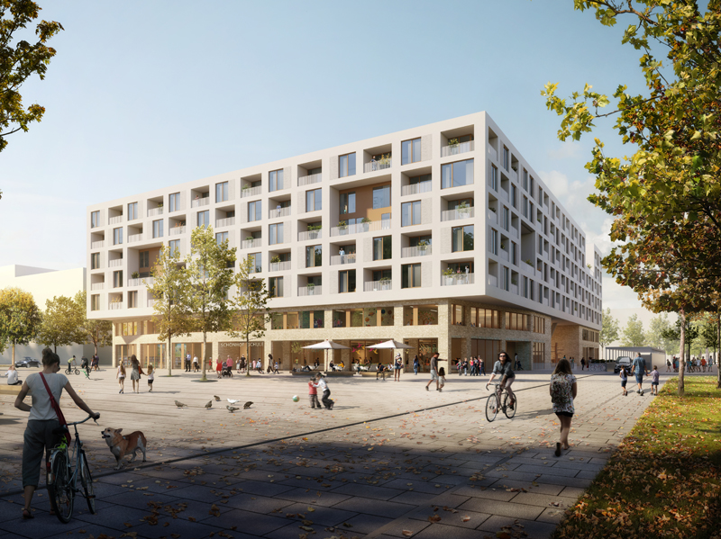 Primary school and apartments. On behalf of Nassauische Heimstätte, Stuttgart-based Ackermann + Raff have designed the structures for Site A south of the central plaza. Rendering: moka-studio