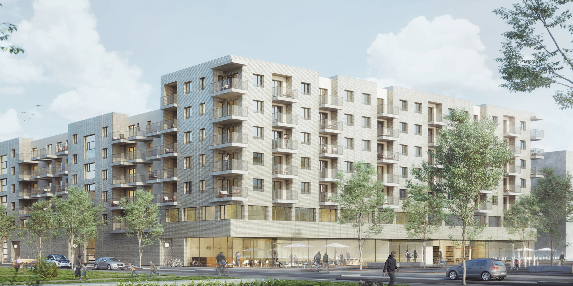 Retail, childcare and housing. On behalf of Instone Real Estate, Frankfurt-based Menges Scheffler Architekten have designed the structures for Site B, north of the central plaza. Rendering: Menges Scheffler Architekten.