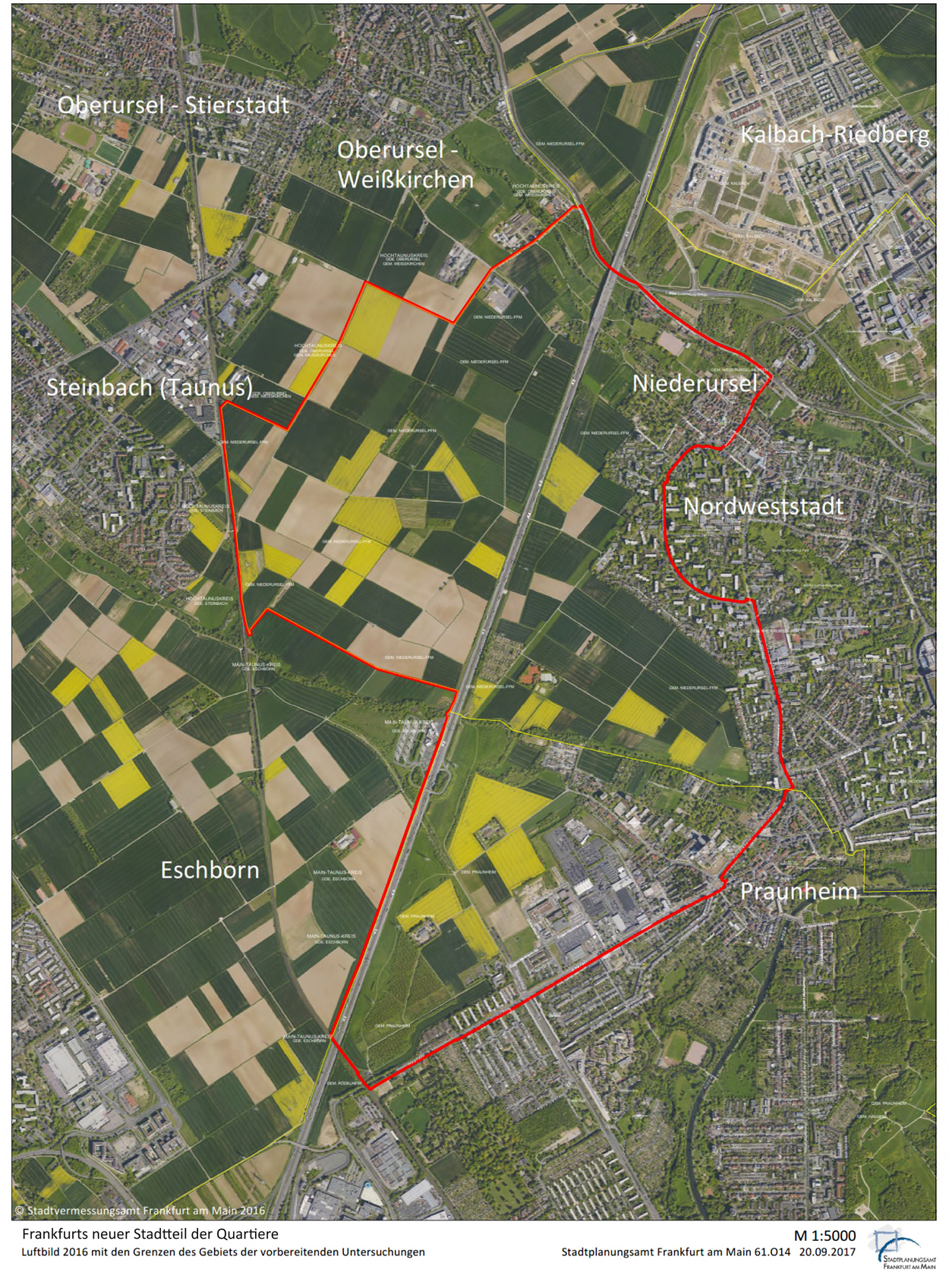 Aerial photo 2016 with the borders of the area covered by the preparatory investigation, © City of Frankfurt Planning Dept.; aerial photo: City of Frankfurt Survey Dept.