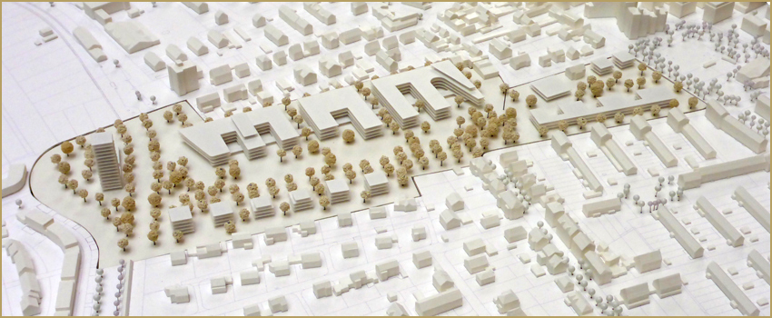 Photo of a model of the winning entry, AG5 Architekten + Stadtplaner mit Götte Landschaftsarchitekten, © City Planning Department, City of Frankfurt/Main