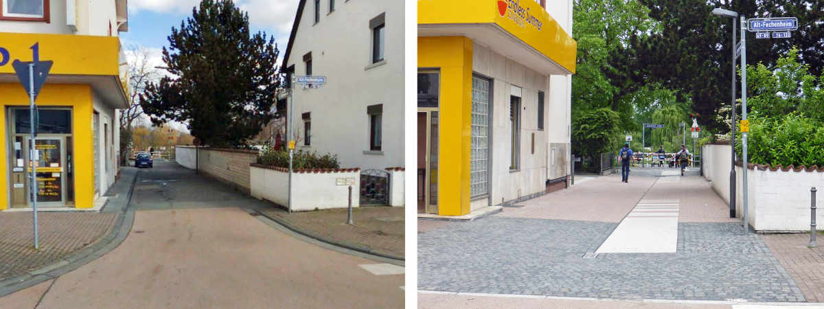 Before and after: Lappengasse, © City Planning Department, City of Frankfurt/Main